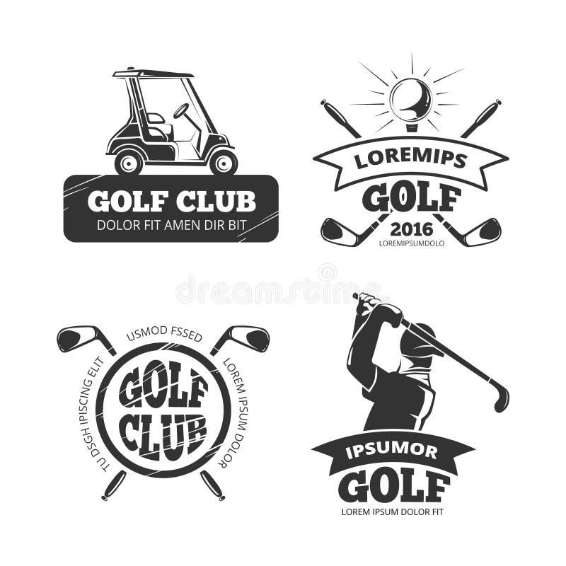 Retro vectorgolfetiketten, emblemen, kentekens en emblemen stock illustratie