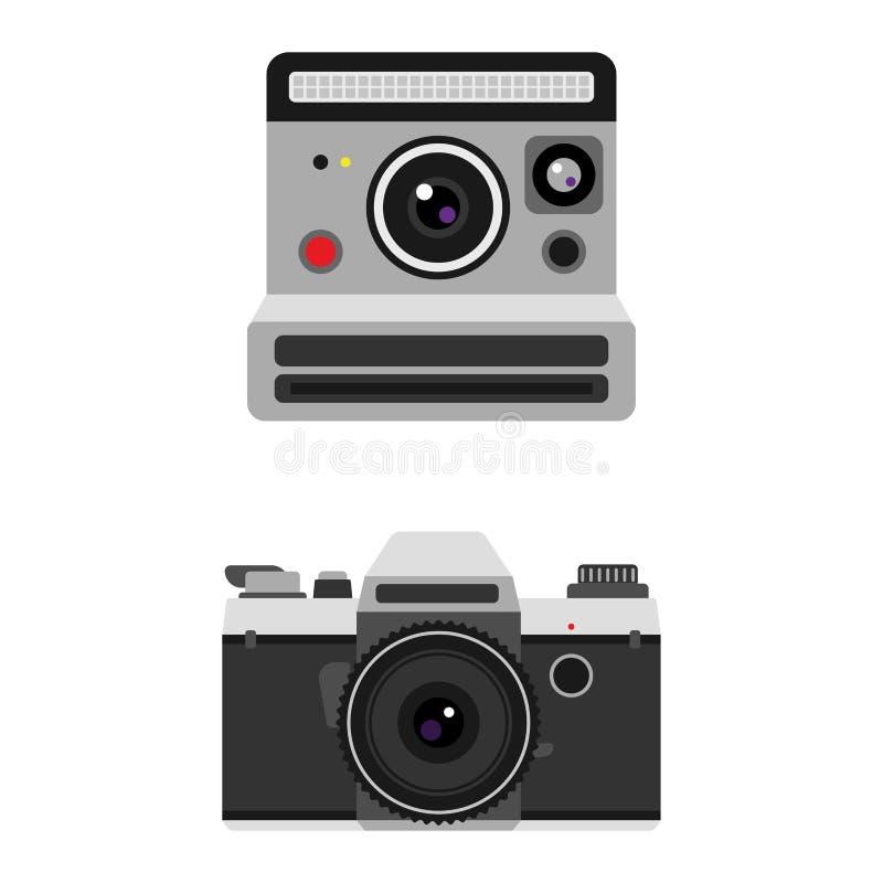 Retro vectorillustratie van de fotocamera vector illustratie