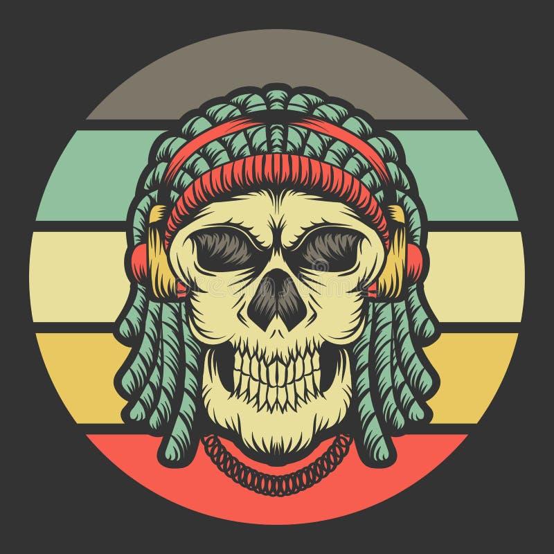 Retro vectorillustratie van de schedel dreadlocks hoofdtelefoon stock illustratie