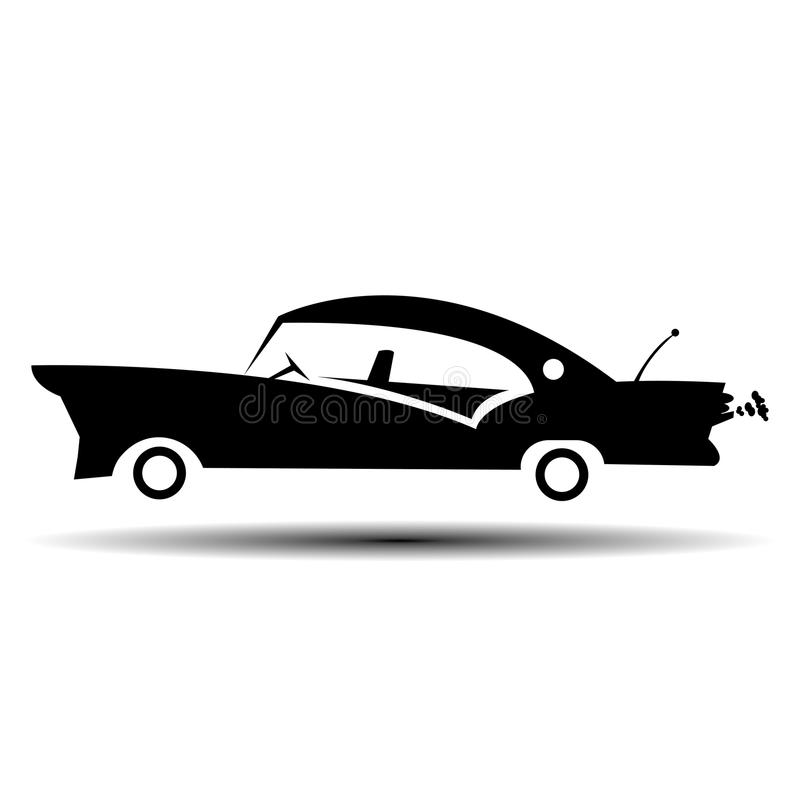 Retro vectorillustratie van de spierauto Uitstekende affiche van retoauto Oude mobiel geïsoleerd op wit royalty-vrije illustratie