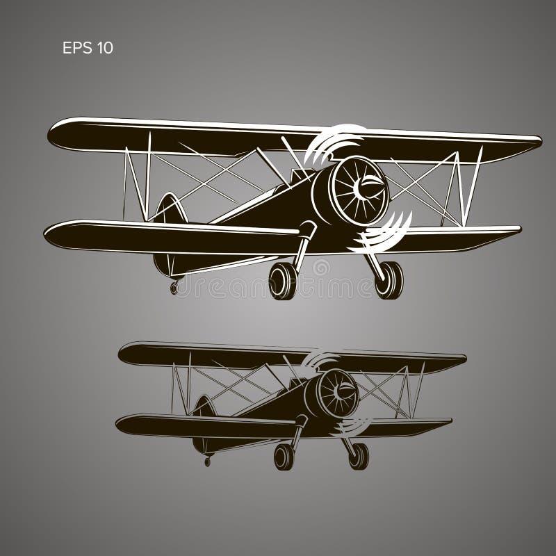 Retro vectorillustratie van het tweedekkervliegtuig Het uitstekende vliegtuig van de zuigermotor stock illustratie