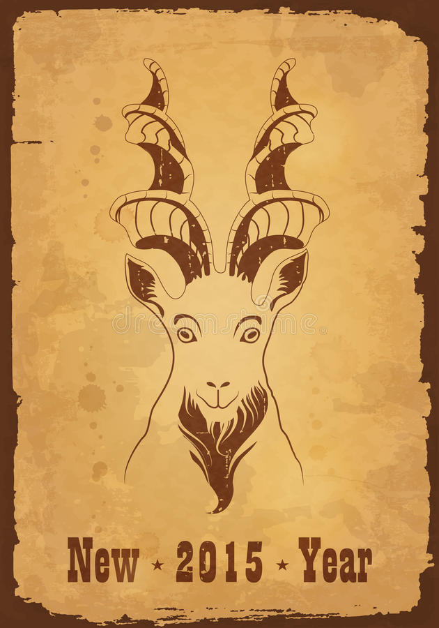 Retro vectorkaart met markhor stock illustratie
