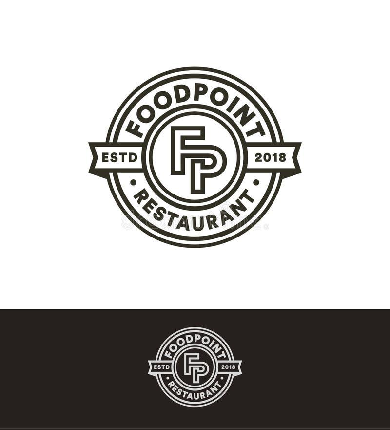Retro vectorzegel, het malplaatje van het cirkelembleem, het zwarte monogram van de lijnkunst Snel voedselrestaurant, koffie, bar royalty-vrije illustratie
