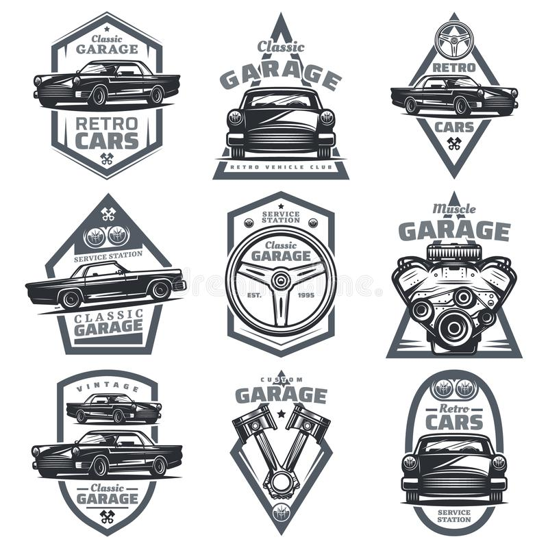 Retro Vehicle Club Emblems Set Stock Vector - Illustration of ...