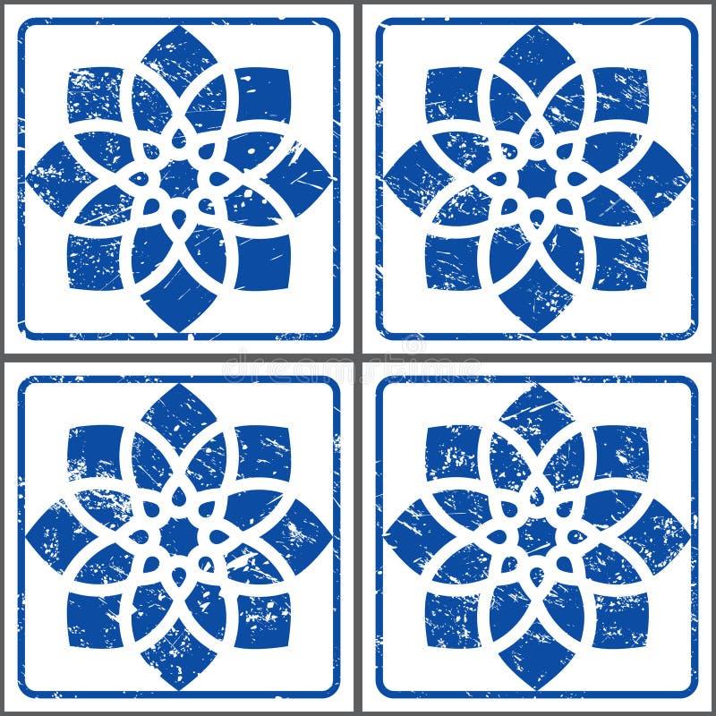 Retro- Vektor Azulejos deckt Muster, portugiesische nahtlose blaue Fliesen entwerfen, geometrische Keramik mit Ziegeln stock abbildung