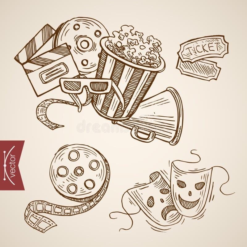 Retro vektor för lineart för popcorn för biljett för drama för bioteatershow royaltyfri illustrationer