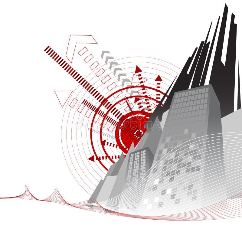 retro vektor för stad stock illustrationer