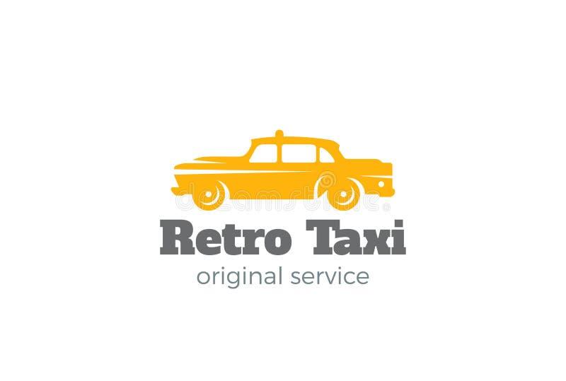 Retro vektor för taxibillogo Tappningklassikermedel royaltyfri illustrationer