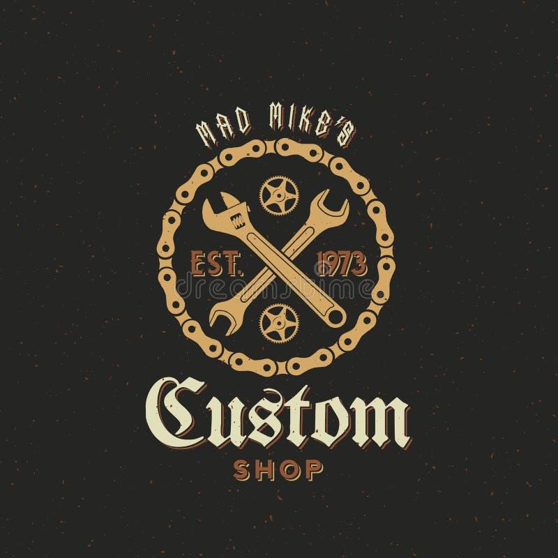 Retro- Vektor-Fahrrad-kundenspezifischer Shop-Aufkleber oder Logo lizenzfreie abbildung