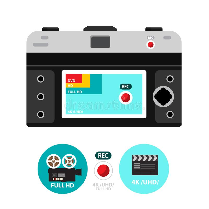 Retro- Vektor-Film-Kamera zurück mit 4K stock abbildung
