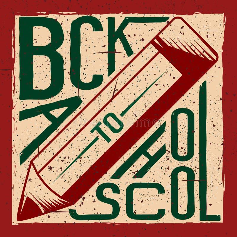 Retro vektorillustration av tillbaka till skolahälsningkortet med typografibeståndsdelen, blyertspenna på grungebakgrund stock illustrationer