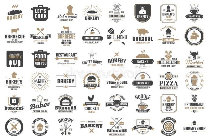 Retro vektorlogo för restaurang för baner royaltyfri illustrationer