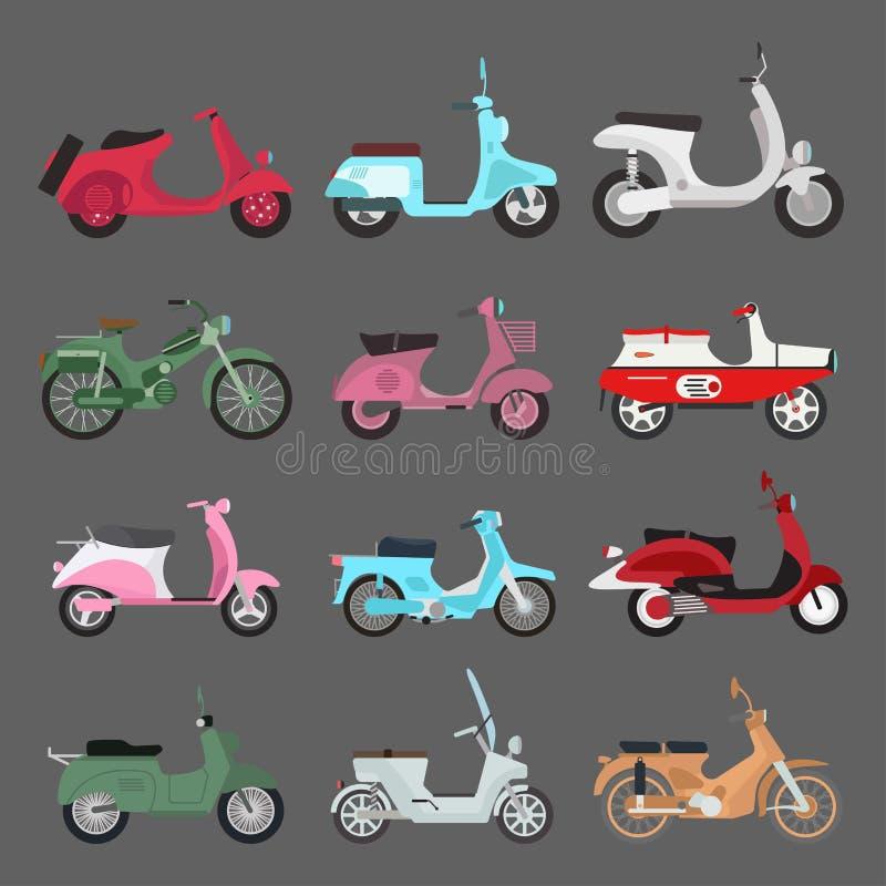 Retro vektorsparkcykelillustration stock illustrationer