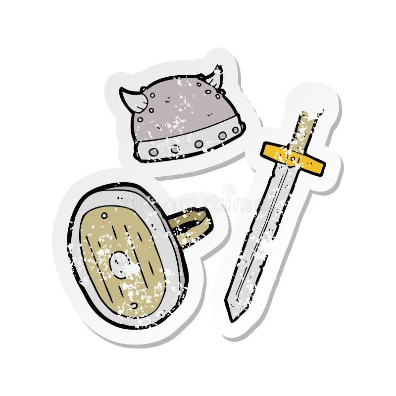 retro verontruste sticker van voorwerpen van een beeldverhaal de middeleeuwse strijder stock illustratie