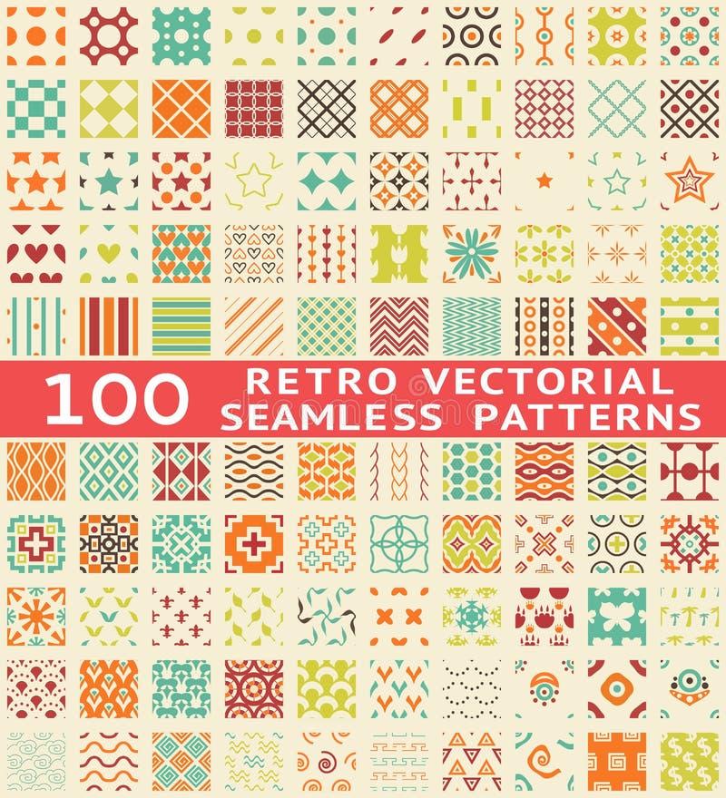 Retro verschillende vector naadloze patronen (met stock illustratie