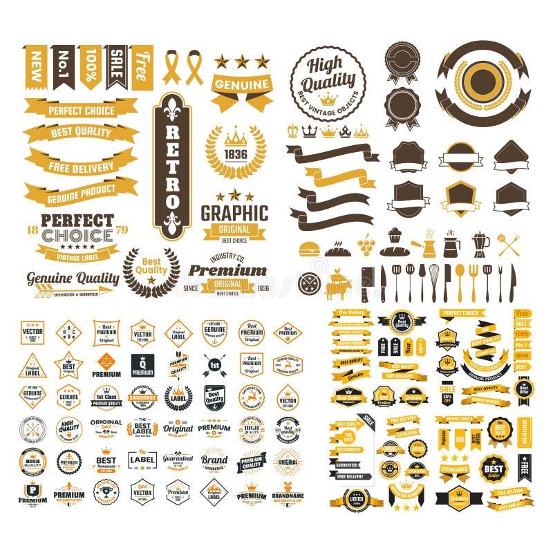 Retro vettore d'annata di progettazione di logo del distintivo della raccolta mega illustrazione vettoriale