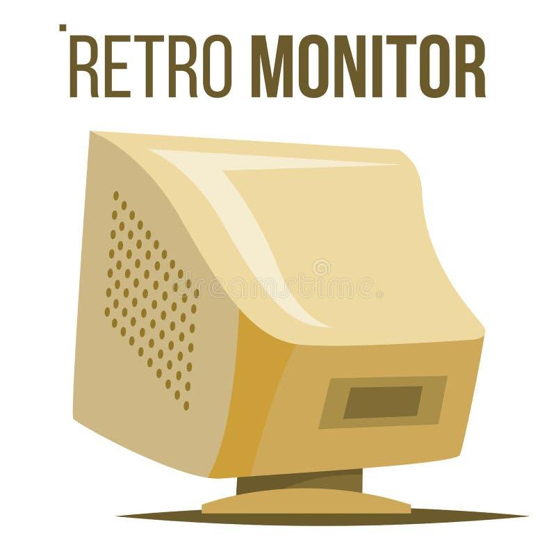 Retro vettore del monitor del computer Vecchio schermo con computer personale da tavolino classico Ufficio, gioco Fumetto isolato royalty illustrazione gratis