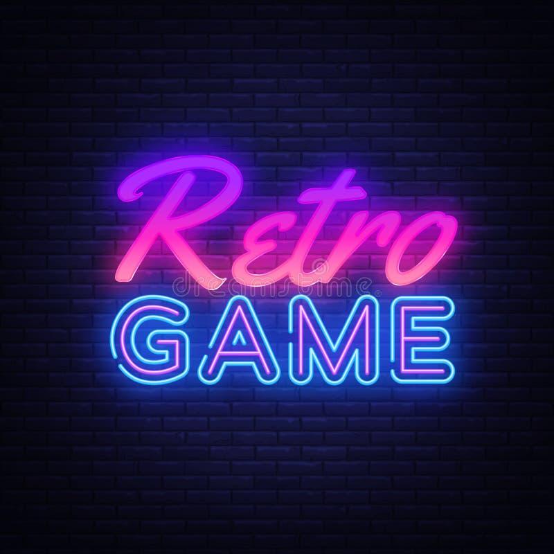 Retro vettore dell'insegna al neon dei giochi r illustrazione di stock