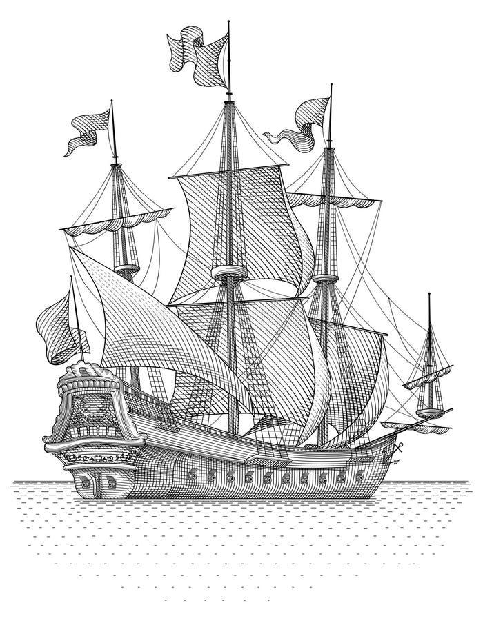 Retro vettore della nave della vela illustrazione di stock