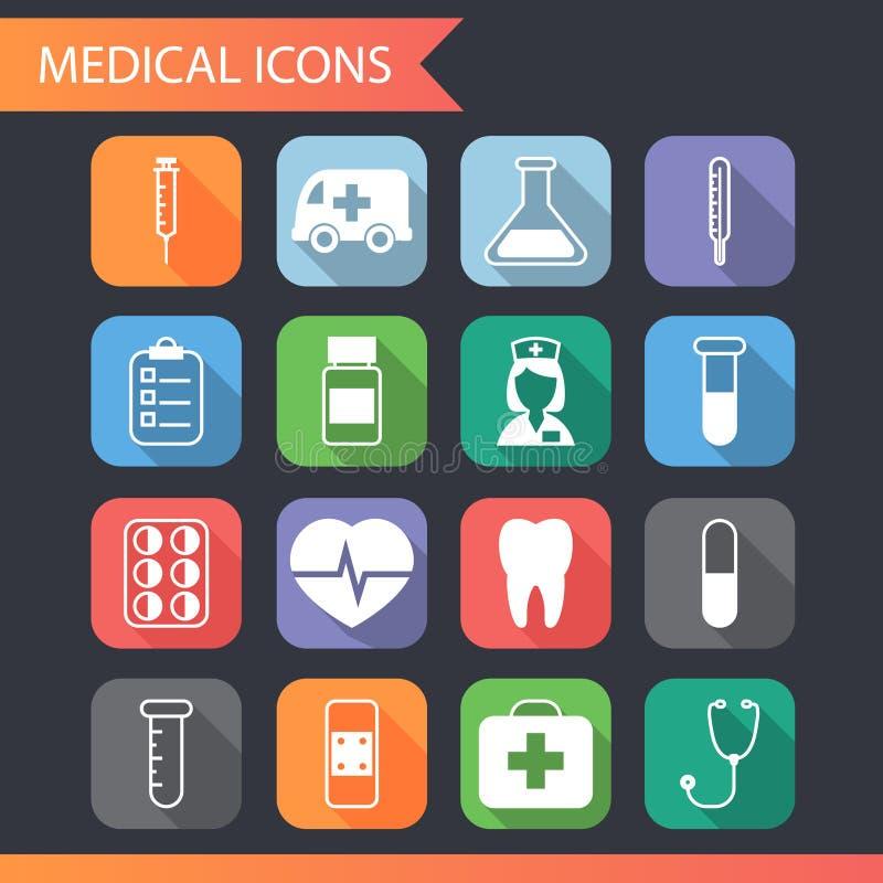 Retro vettore medico piano dell'insieme di simboli e delle icone illustrazione di stock