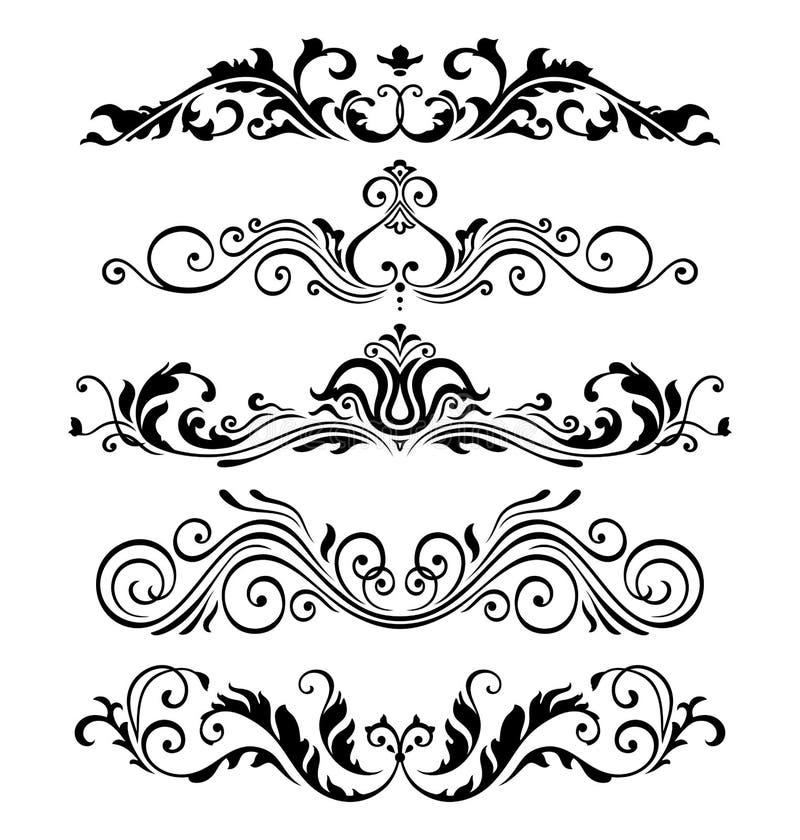 Retro victorian elementeninzameling voor Kalligrafisch Ontwerp Echte Bloemenkaderelementen royalty-vrije illustratie