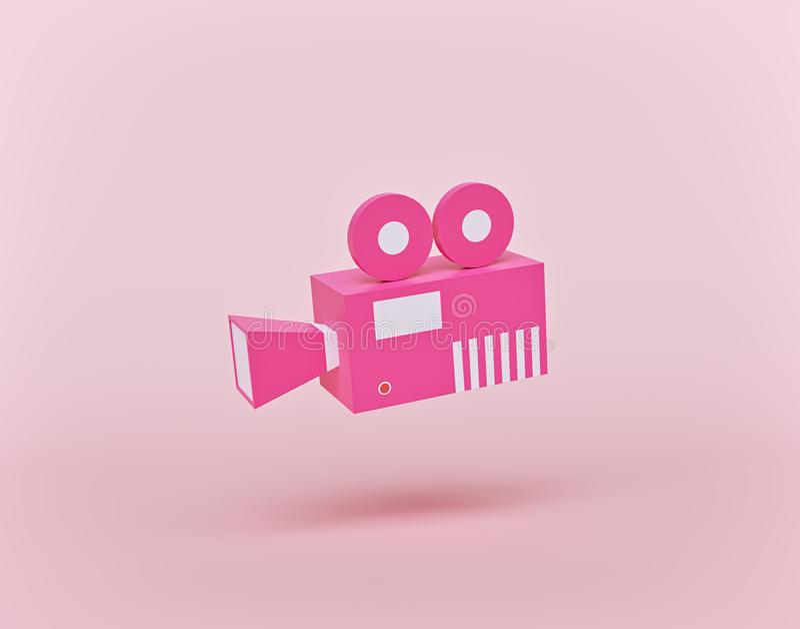 Retro video camera cartoon style. 3d rendering stock illustration