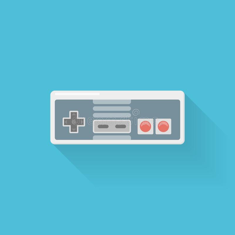 Retro video game controller flat style icon on blue background. Joystick or gamepad vector illustration stock illustration