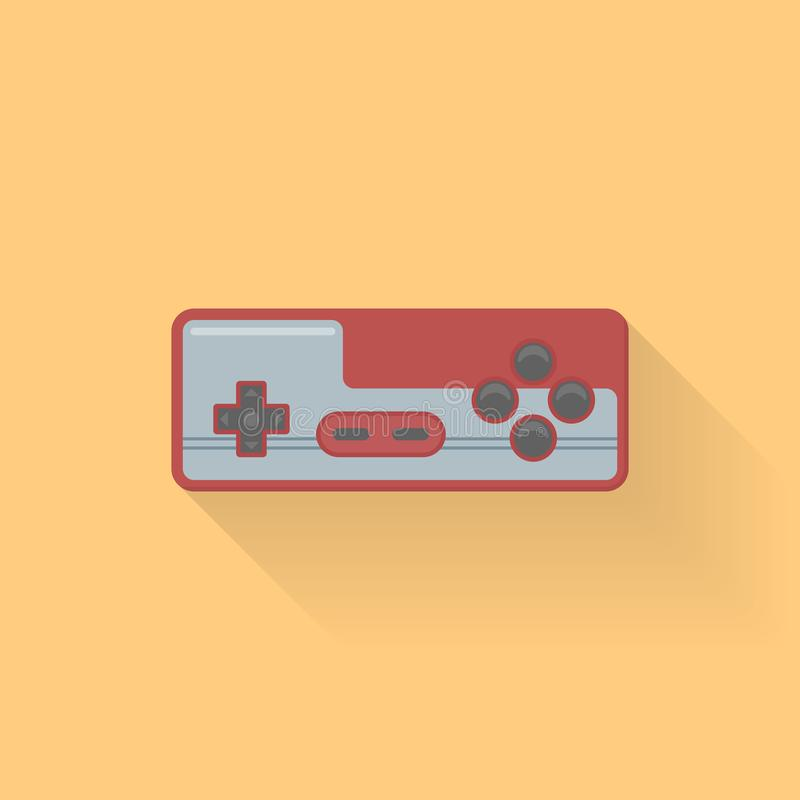 Retro video game controller flat style icon on orange background. Joystick or gamepad vector illustration stock illustration
