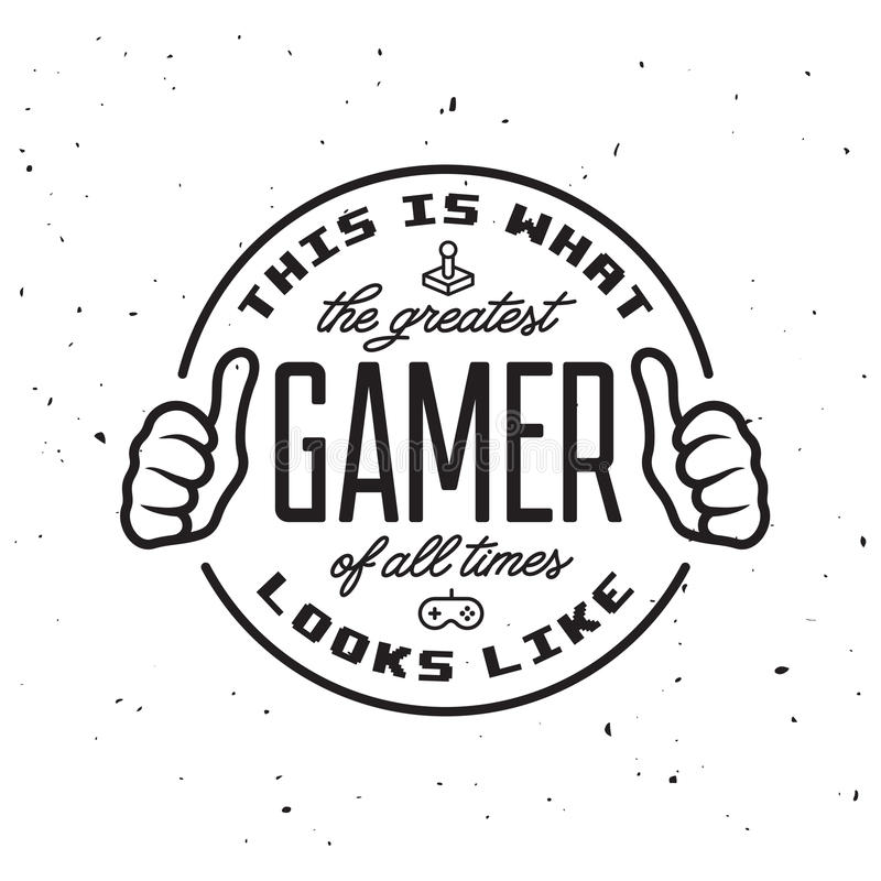 Retro video games related t-shirt design. Greatest gamer text. Vector vintage illustration. Retro video games related t-shirt design. This is what the greatest royalty free illustration
