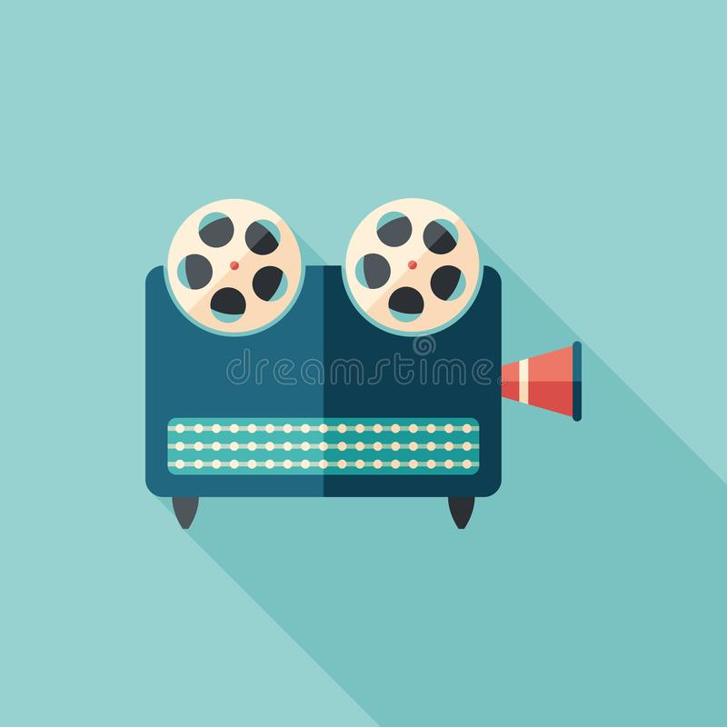 Retro video projector flat square icon with long shadows. vector illustration