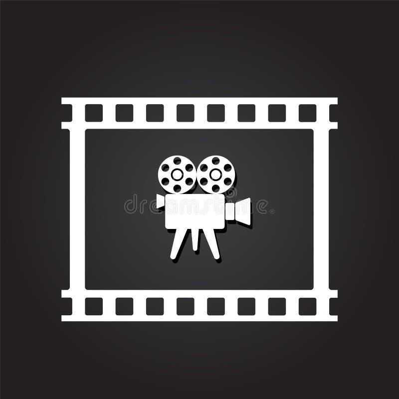 Retro videocamera in filmband op donkere achtergrond met schaduw F royalty-vrije illustratie