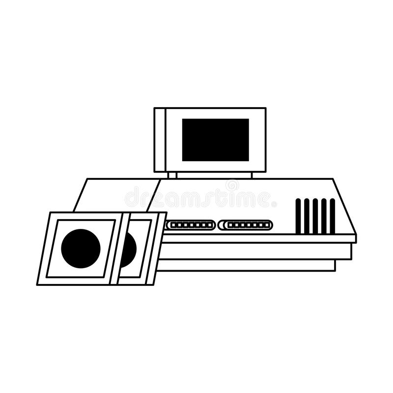 Retro videogame console with cassettes in black and white royalty free illustration