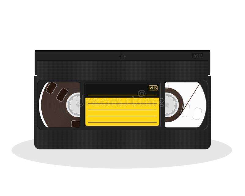 Retro- Videokassette mit dem schwarzen und gelben Aufkleber lokalisiert auf einem weißen Hintergrund Weinleseartfilmspeicherikone vektor abbildung