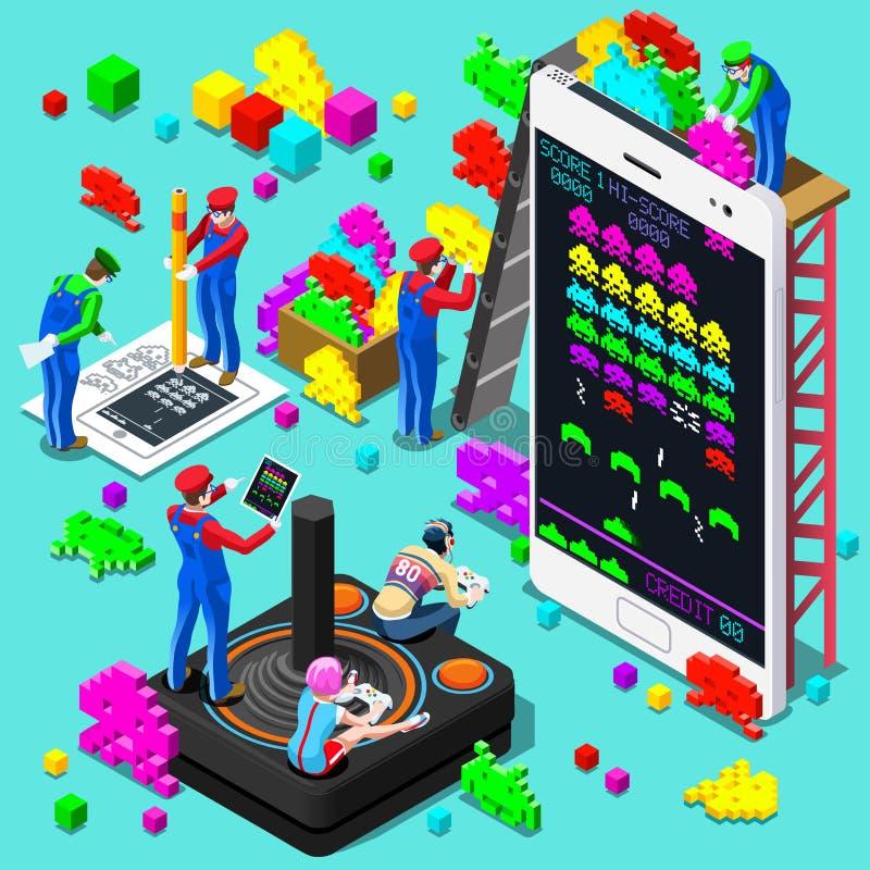 Retro videospel som spelar den isometriska folkvektorillustrationen royaltyfri illustrationer