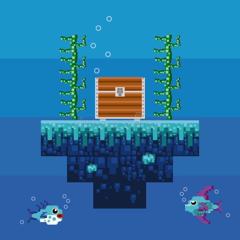 Retro videospelletje pixelated onderwaterlandschap vector illustratie