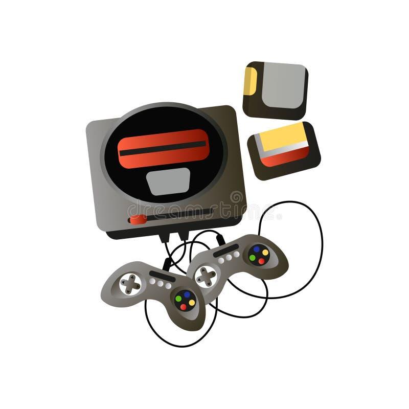 Retro videospelletjeapparaat met twee bedieningshendels en spelen royalty-vrije illustratie