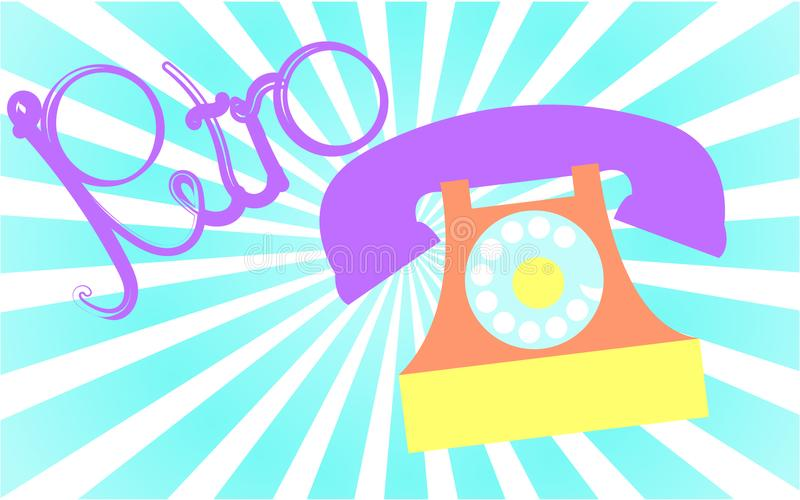 Retro, viejo, antiguo, inconformista, vintage, antiguo, disco, teléfono anaranjado con un tubo con una inscripción retra escrita  stock de ilustración