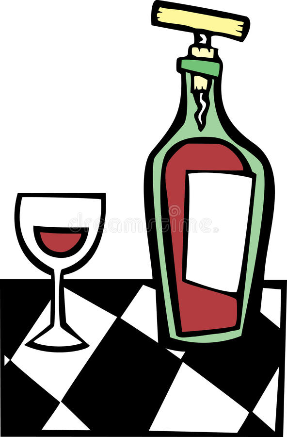 Retro vino e vetro #1 illustrazione di stock
