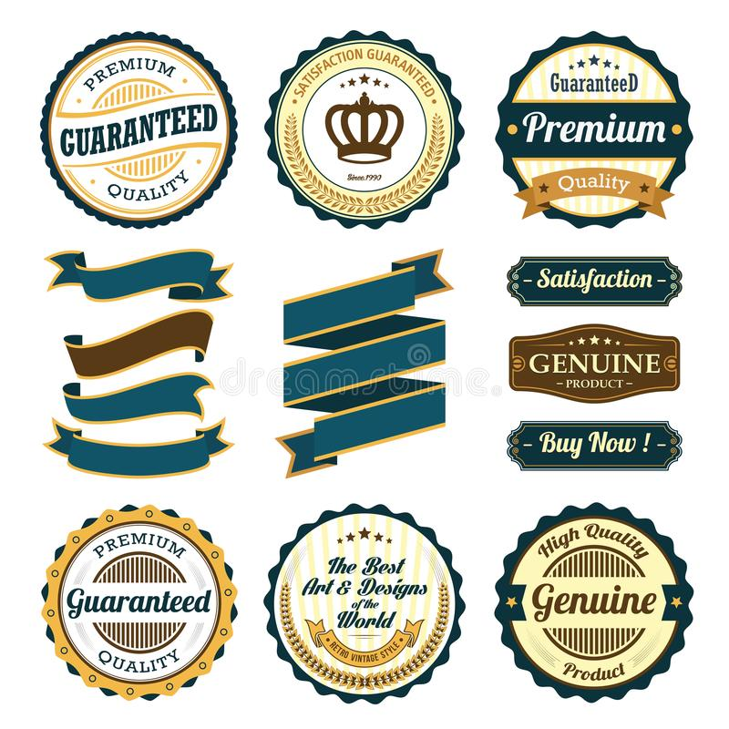 Retro Vintage Badge, Label and Banner Set vector illustration