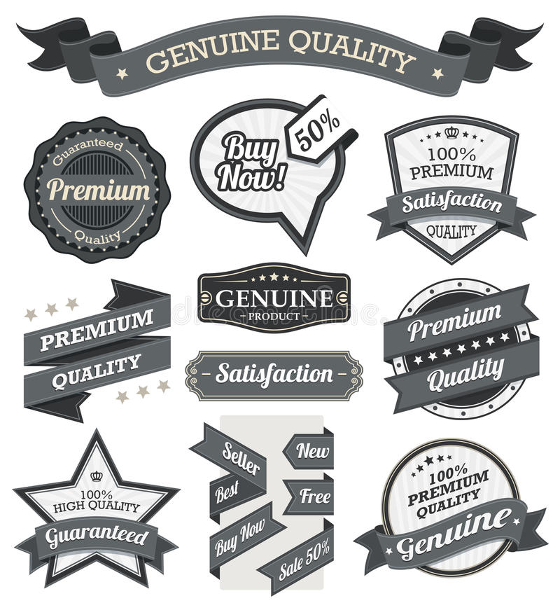 Retro Vintage Badge, Label and Banner Set stock illustration