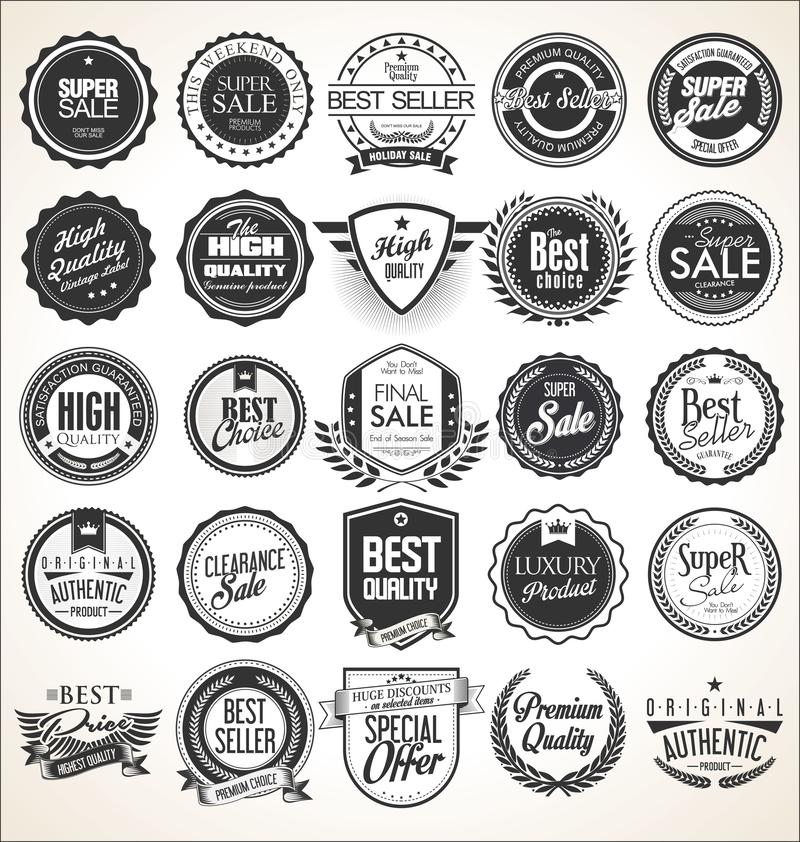 Retro vintage badges and labels. Collection royalty free illustration