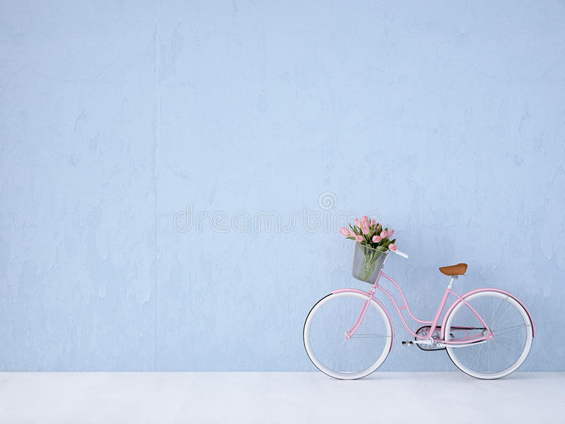 Retro vintage bicycle old and blue wall. 3d rendering. Retro vintage bicycle with a blue wall. 3d rendering stock photos