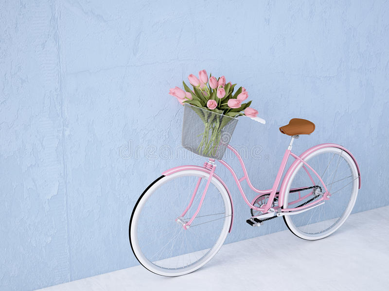 Retro vintage bicycle old and blue wall. 3d rendering. Retro vintage bicycle with a blue wall. 3d rendering royalty free stock photos
