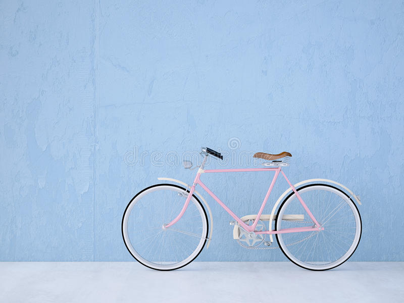 Retro vintage bicycle old and blue wall. 3d rendering. Retro vintage bicycle with a blue wall. 3d rendering stock image