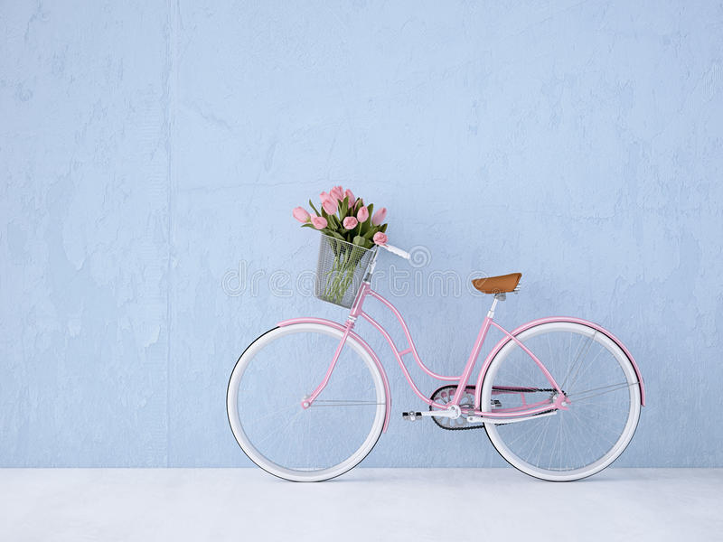 Retro vintage bicycle old and blue wall. 3d rendering. Retro vintage bicycle with a blue wall. 3d rendering stock photo