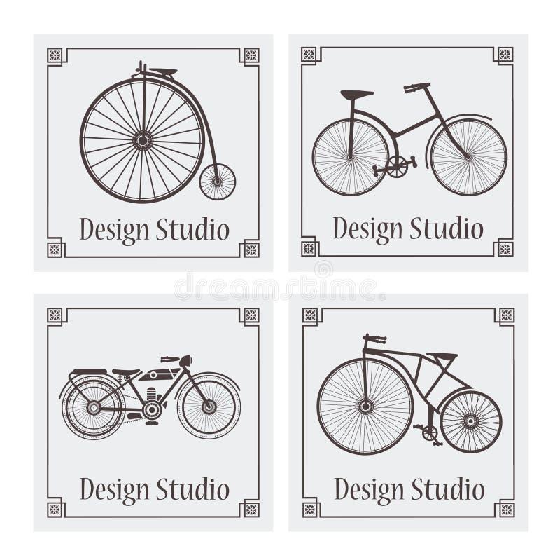 Retro vintage bicycle pattern royalty free illustration