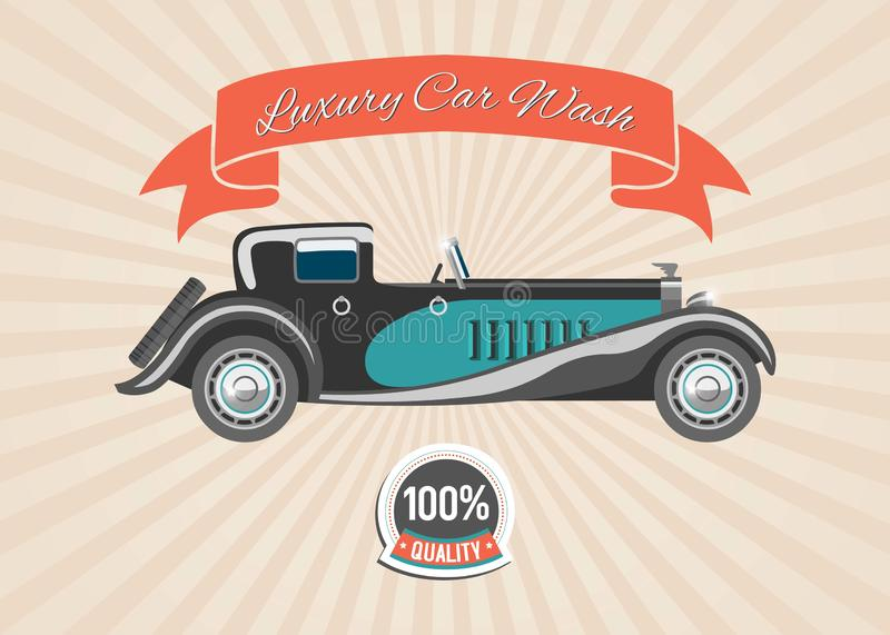 Retro vintage car with banner and badge on retro stripped vector background. Retro cars and automobiles wash poster. vector illustration