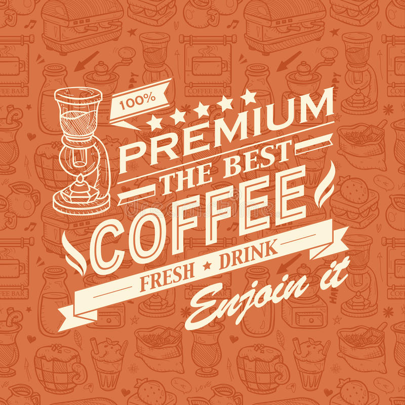 Download Retro Vintage Coffee Background With Typography Stock Illustration - Image: 33219021