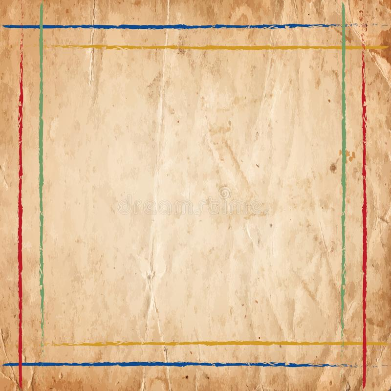 Retro vintage colorful lines border on the old paper background royalty free stock image