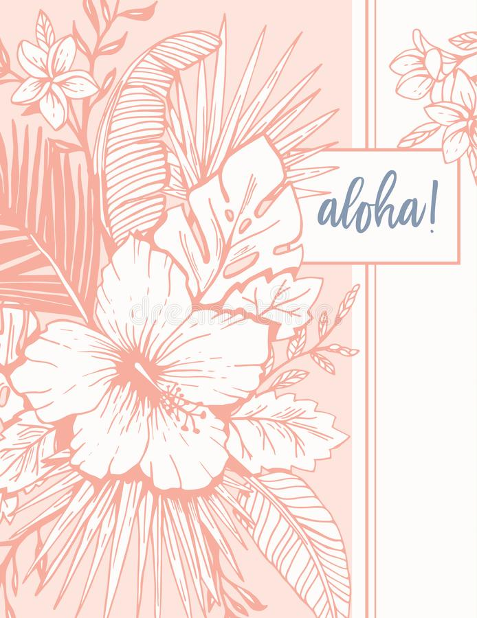 Retro Vintage Coral Tropical Floral Exotic Foliage and Hibiscus Aloha Greeting Card. Ink line Drawing Background. vector illustration